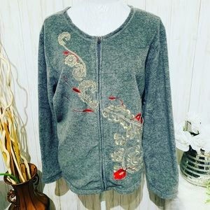 Rebecca Malone Gray Embroidered Fleece Sweater